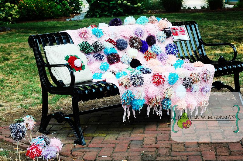 Bench with pom poms hurkamp park 11june2011